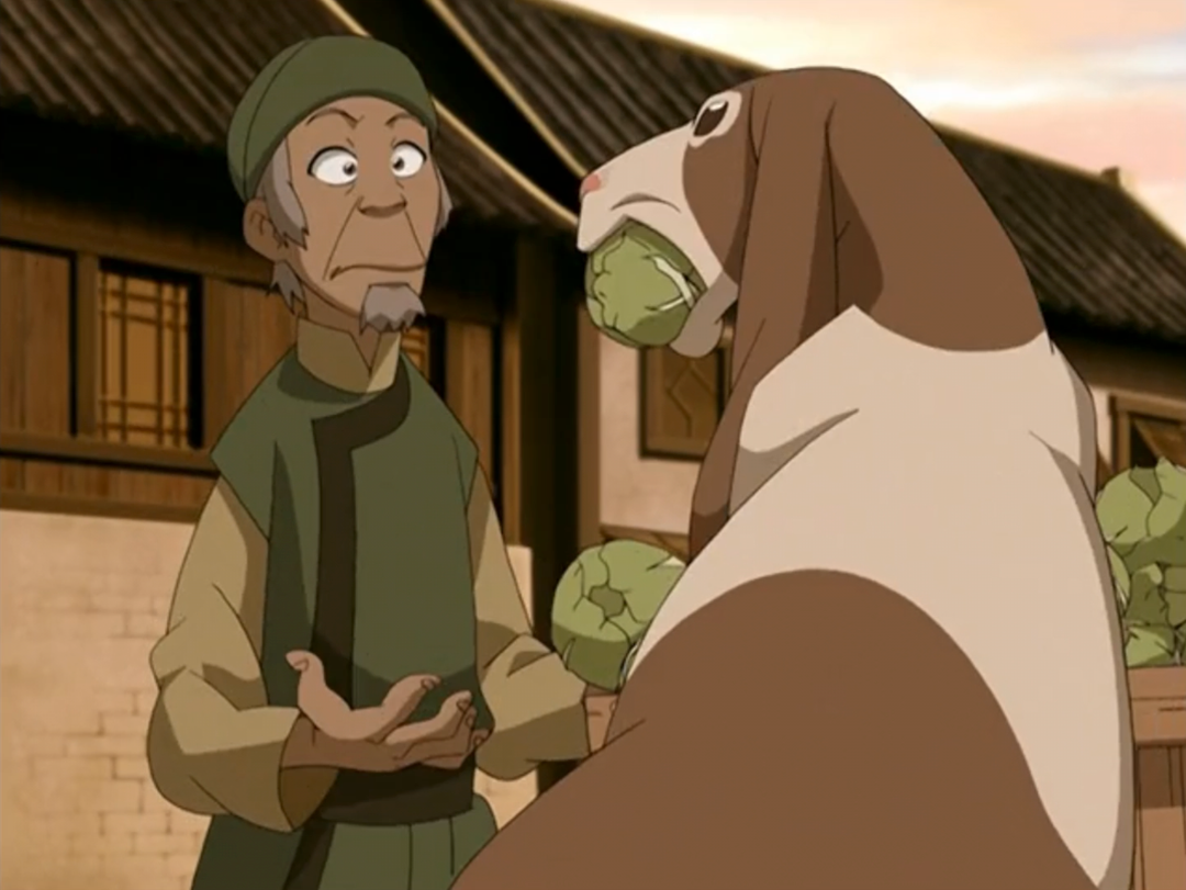 Avatar The Last Airbender the cabbage merchant looking at a Rabaroo eating his cabbages